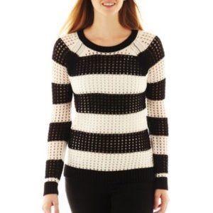 A.N.A. Black & White Pointelle Openwork Sweater